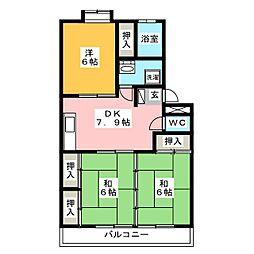 塔谷ハイツ[3階]の間取り