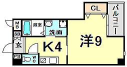 アクアプレイス新神戸駅前 4階1Kの間取り
