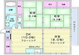 仙台市地下鉄東西線 荒井駅 4.5kmの賃貸アパート 2階3LDKの間取り