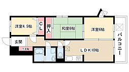 愛知県名古屋市守山区小幡南1丁目の賃貸マンションの間取り