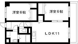 宮崎県宮崎市城ケ崎3丁目の賃貸マンションの間取り