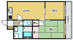 大阪府茨木市丑寅2丁目の賃貸マンションの間取り