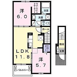 仮)北島田1丁目アパートA[202号室]の間取り