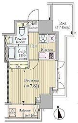 レジデンス高輪台 8階1Kの間取り