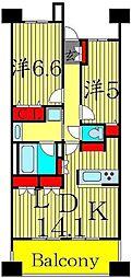 ロイヤルパークス西新井[1002号室]の間取り
