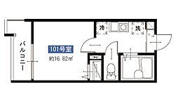 メルディア八広6丁目No.7 1階1Kの間取り