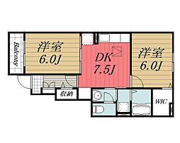 JR成田線 成田駅 バス25分 太産工業前下車 徒歩10分の賃貸アパート 1階2DKの間取り
