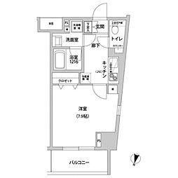 東京メトロ有楽町線 江戸川橋駅 徒歩3分の賃貸マンション 8階1Kの間取り