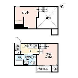 JR鹿児島本線 香椎駅 徒歩12分の賃貸アパート 2階ワンルームの間取り