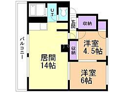 富士見マンション 3階2LDKの間取り