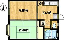 北田コーポ[202号室]の間取り