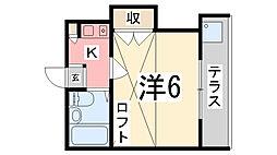 兵庫県姫路市野里新町の賃貸アパートの間取り