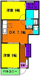 静岡県磐田市赤池の賃貸アパートの間取り