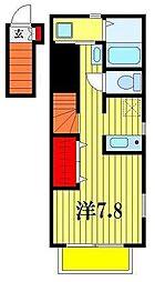 千葉県松戸市常盤平1丁目の賃貸アパートの間取り