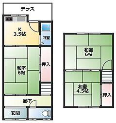 仲川貸家 1階3Kの間取り