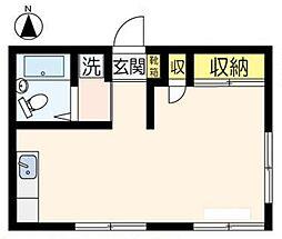 JR八高線 箱根ヶ崎駅 徒歩20分の賃貸アパート 1階ワンルームの間取り