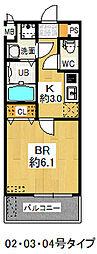 CP深江橋 3階1Kの間取り