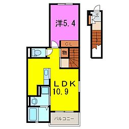 愛知県東海市荒尾町金山の賃貸アパートの間取り
