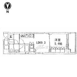 京都市営烏丸線 五条駅 徒歩13分の賃貸マンション 4階1LDKの間取り