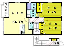 フィオーレI[2階]の間取り