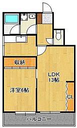 JR鹿児島本線 黒崎駅 徒歩8分の賃貸マンション 4階1LDKの間取り
