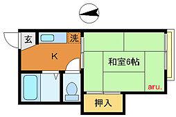 東京都武蔵野市中町3丁目の賃貸アパートの間取り