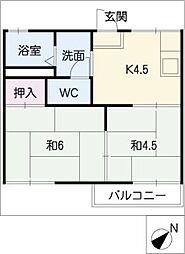 ヴュー梅森台[1階]の間取り