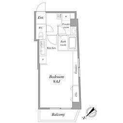 都営浅草線 浅草駅 徒歩9分の賃貸マンション 6階ワンルームの間取り