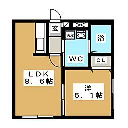 マリーノ南円山[2階]の間取り