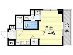 阪急京都本線 南茨木駅 徒歩3分の賃貸マンション 8階ワンルームの間取り