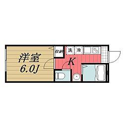 JR成田線 成田駅 徒歩15分の賃貸アパート 1階1Kの間取り