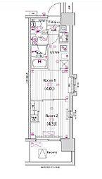 東京メトロ東西線 木場駅 徒歩13分の賃貸マンション 8階2Kの間取り