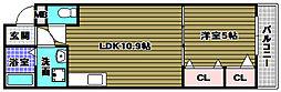 フローラ河内長野 1階1LDKの間取り