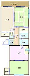 広島県呉市本通7丁目の賃貸マンションの間取り