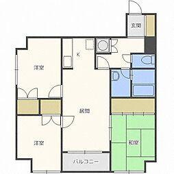 北海道札幌市東区北四十一条東14丁目の賃貸マンションの間取り