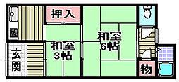 鶴原アパート[3号室]の間取り