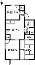 メゾンジュメルA[2階]の間取り