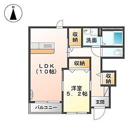 メゾン ハヤブサA[1階]の間取り