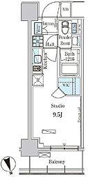 東京メトロ有楽町線 新富町駅 徒歩3分の賃貸マンション 3階ワンルームの間取り