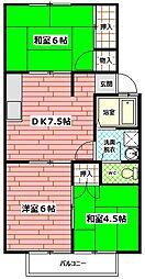 ハイマート東原[201号室]の間取り
