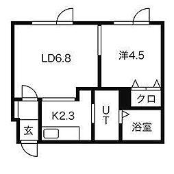 北海道札幌市東区北14条東の賃貸マンションの間取り