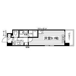 (仮称)谷山駅前マンションM棟 2階1Kの間取り
