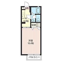 タウンハイツ東峰D[2階]の間取り