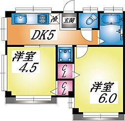 兵庫県神戸市灘区一王山町の賃貸アパートの間取り