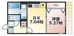 Osaka Metro千日前線 北巽駅 徒歩8分の賃貸アパート 1階1DKの間取り