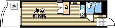 間取り,1K,面積26m2,賃料4.3万円,神戸市西神・山手線 新神戸駅 徒歩3分,JR東海道・山陽本線 三ノ宮駅 徒歩12分,兵庫県神戸市中央区生田町1丁目2-8