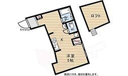 京王線 仙川駅 徒歩11分の賃貸アパート 3階ワンルームの間取り