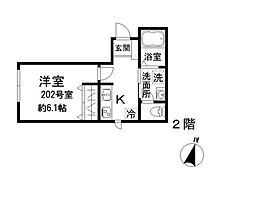 東京メトロ有楽町線 東池袋駅 徒歩6分の賃貸アパート 2階1Kの間取り