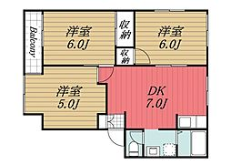 千葉県四街道市美しが丘2丁目の賃貸アパートの間取り