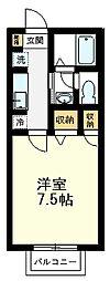 サンデューク恋ヶ窪II 1階1Kの間取り